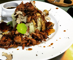 Jackfruit con alcachofas y trufa (V)