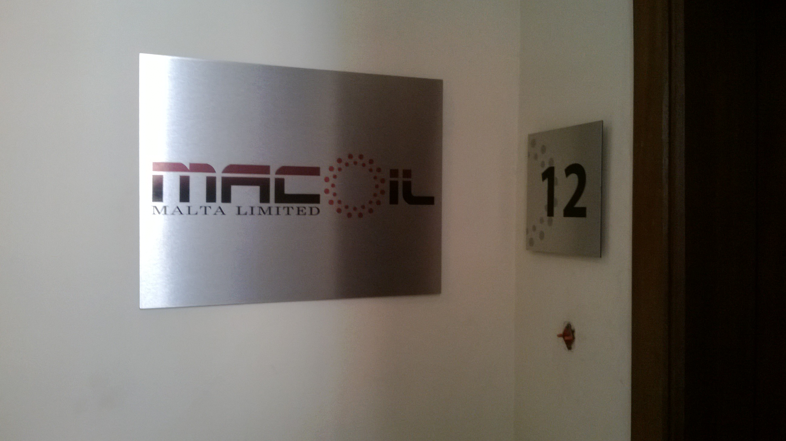 Macoil Malta Ltd. office sign
