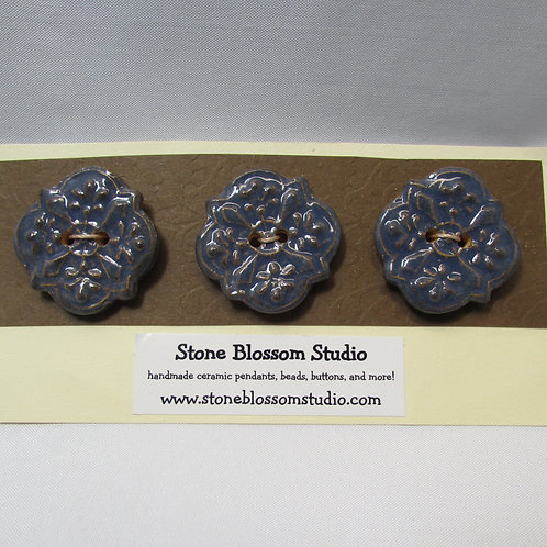 medallion button - set of 3 in blue stone glaze