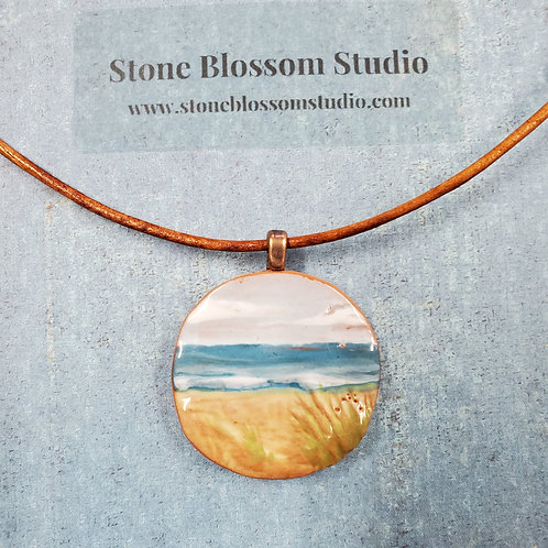 handpainted ceramic beach scene pendant