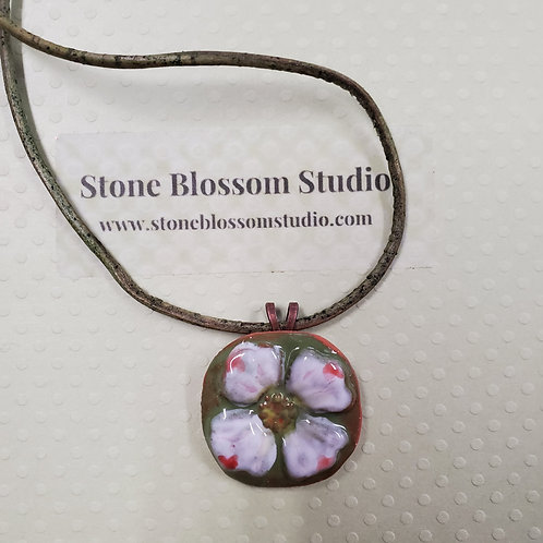 handmade ceramic hand painted dogwood blossom necklace