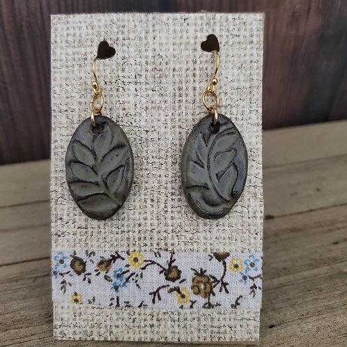 drop leaf earrings in spanish moss glaze