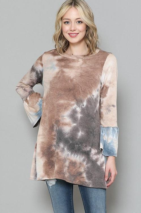 VOLL Tie Dye Sweater Top - Brown