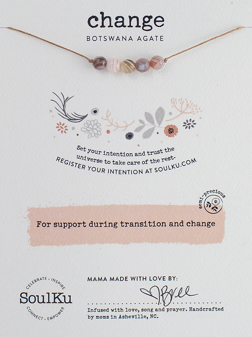 Soulku -Botswana Agate Intention Necklace for Change