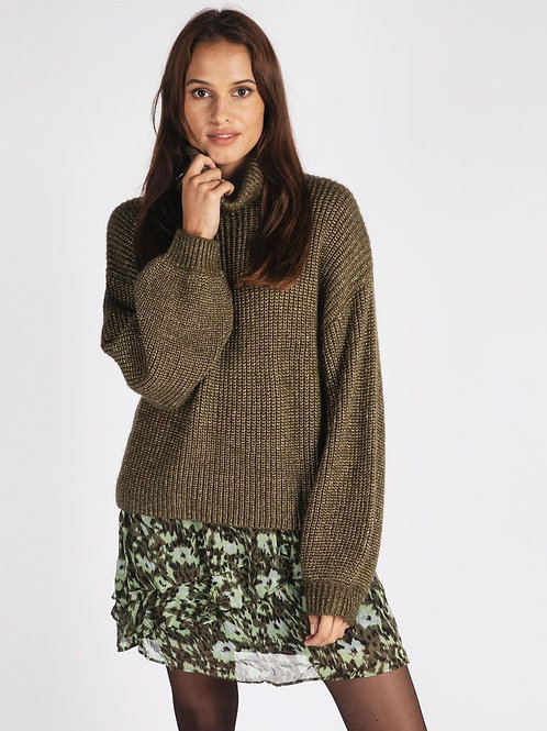 Esqualo Lurex Cropped Sweater in Army Green