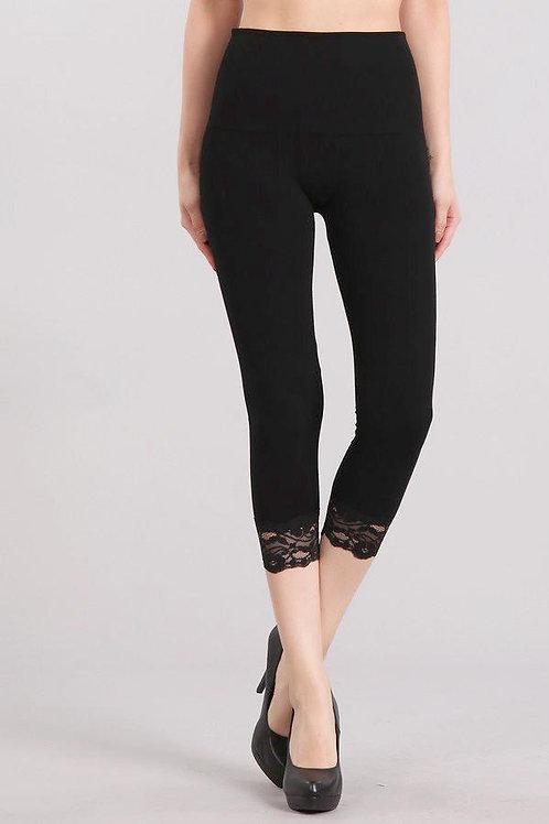 M Rena High Waist Cropped Lace-Trim Legging