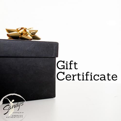 Sandy's Gift Certificates