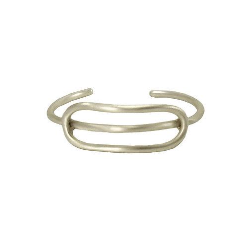 Elongated Oval Cuff Bracelet - Silver