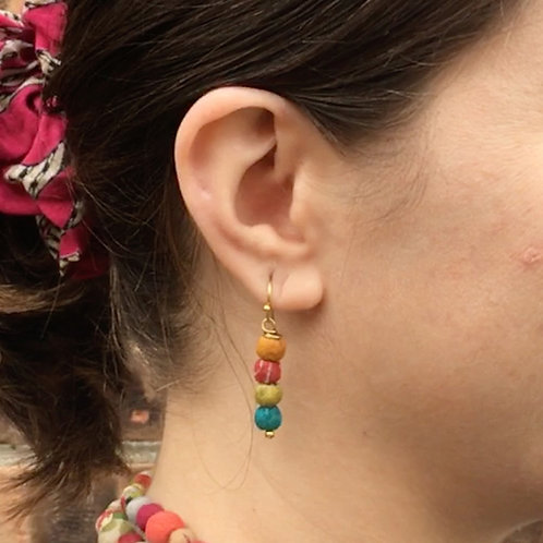 World Finds Quatre Kantha Earrings