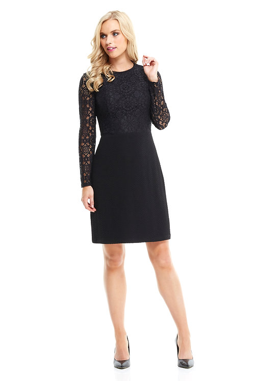 London Times Cathedral Lace Long Sleeve A-Line Dress