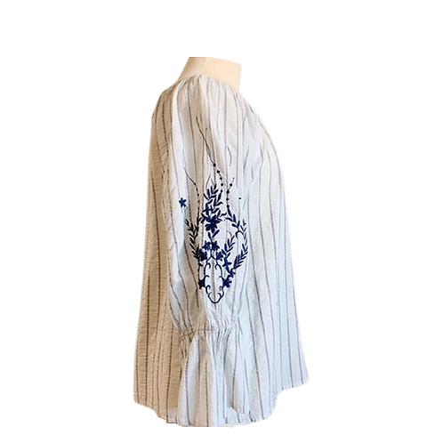 XCVI Striped Blouse with Embroidery