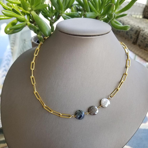 Helen Wang Oblong Links & Ombré Moonstone Necklace