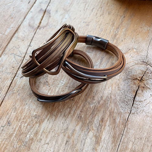 Leather & Irregular Oval Bracelet