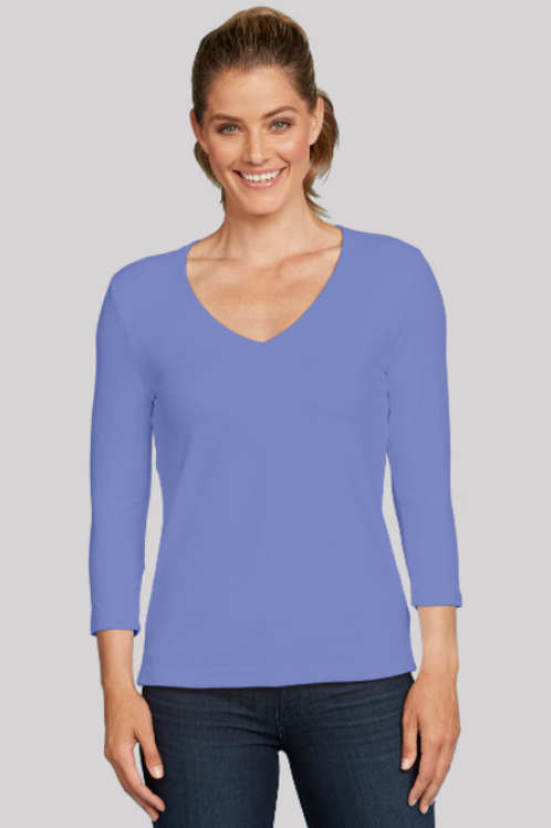 JudyP Relaxed Fit V-Neck 3/4 Sleeve