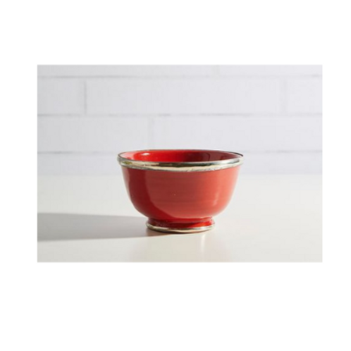 Moroccan Glazed Bowls with Berber Silver Trim