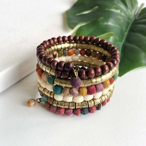 World Finds Coiled Kantha Bracelet