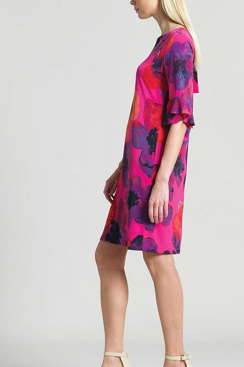 Clara Sunwoo Poppy Print Tulip Cuff Tie Back Dress