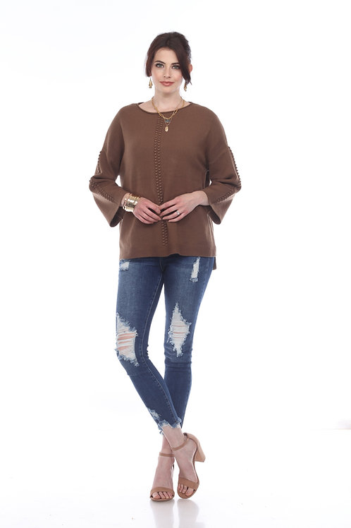 Sisters 3/4 Sleeve Pullover in Cocoa