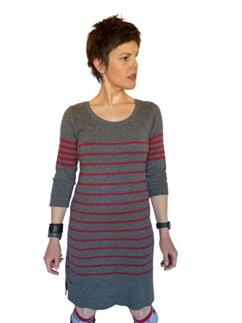 Hatley Dress in Charcoal & Red