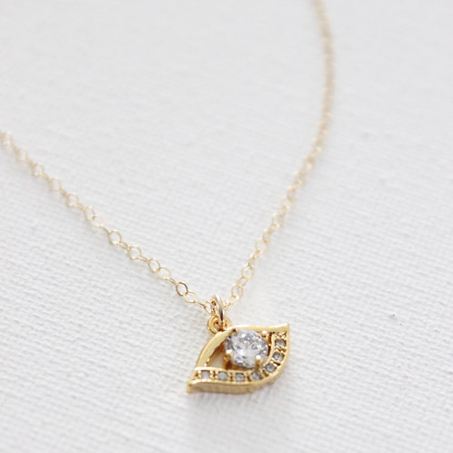 """Katie Waltman Evil Eye With Large CZ Center On 18"""" Gold Filled Chain"""