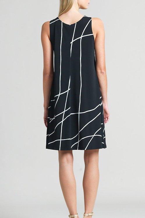 Clara Sunwoo Swirl Print Jewel Neck Swing Dress