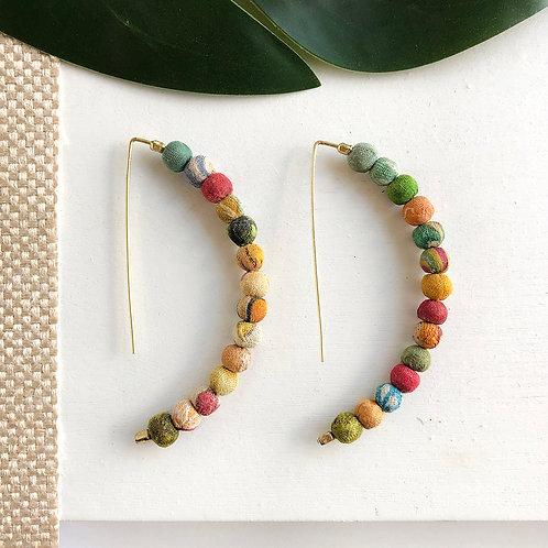 World Finds Kantha Linear Arc Earrings