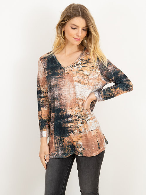 AMB Elle V Neck Tunic in Earth Canvas