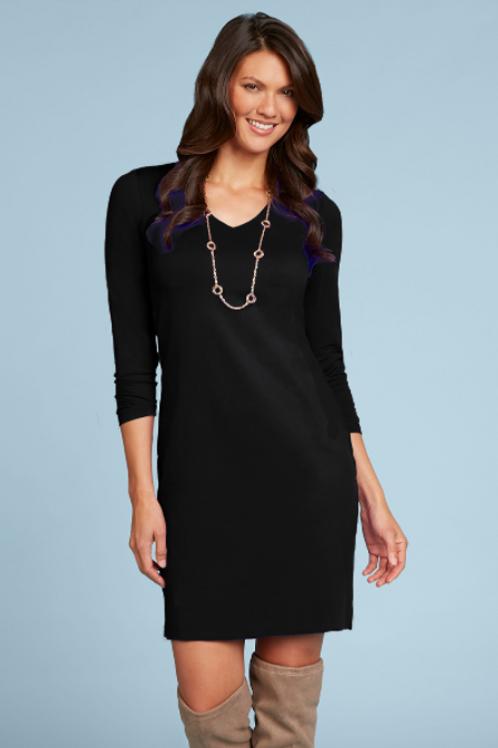 JudyP V-Neck 3/4 Sleeve Dress in Black