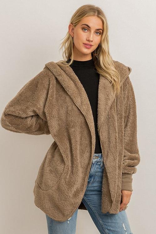 Hem & Thread Faux Fur Hooded Jacket