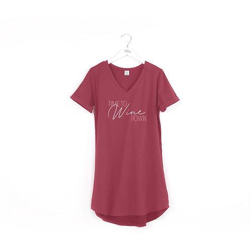 """Hello Mello """"Time to Wine Down"""" Sleep Shirt"""