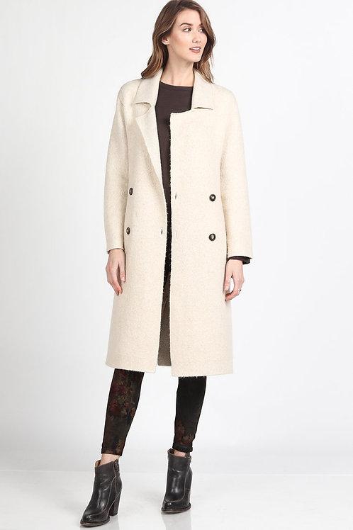 M. Rena Liverpool Longline Coat in Cream