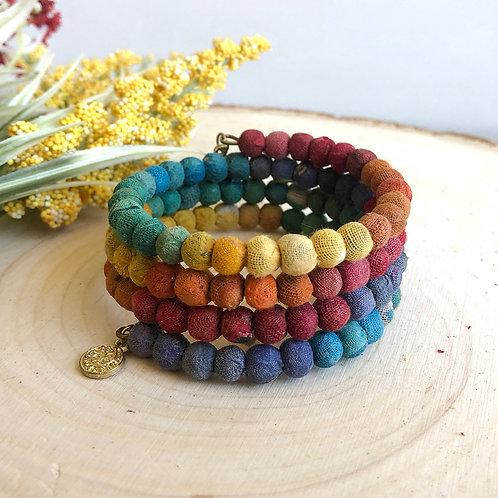 World Finds Rainbow Spiral Kantha Bracelet