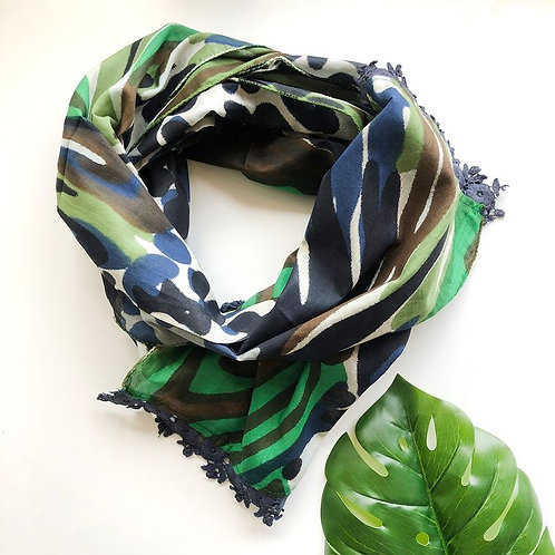 Watercolor Crochet Trim Scarf -Navy