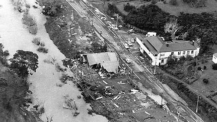 Floods destroy the township opposite the Waikino Taver in 1981