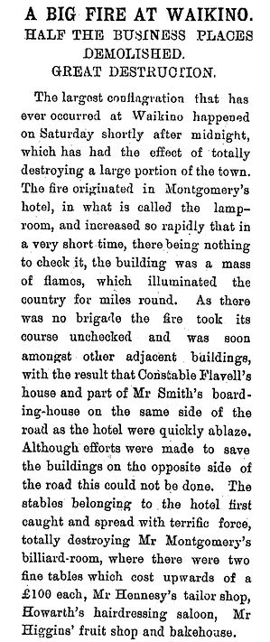 Old newspaper story about th fire at the Waikino Hotel and town