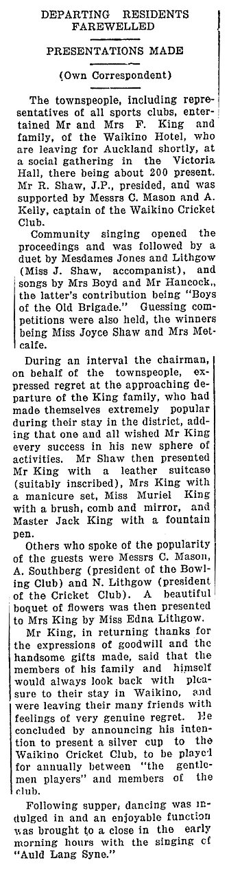 Newspaper clipping about he King family leaving the Waikino Hotel ad moving back to Auckland