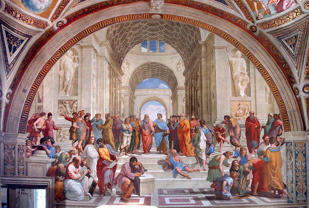 Escola de Atenas por Rafael Sanzio, séc. XVI. Pintor do movimento renascentista na Europa.