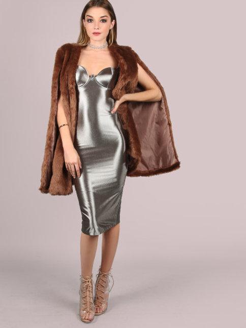 Metallic Silver BustierDress