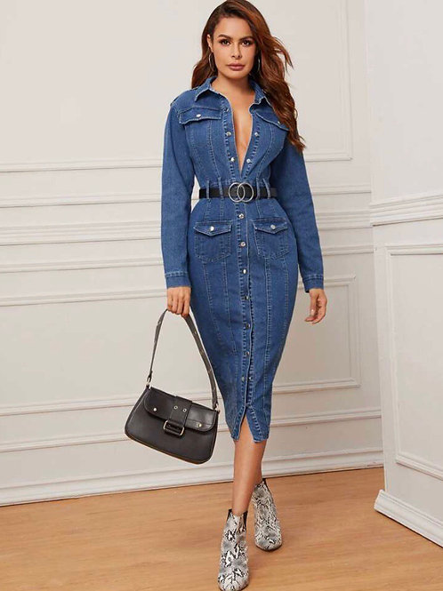Denim Fitted Dress