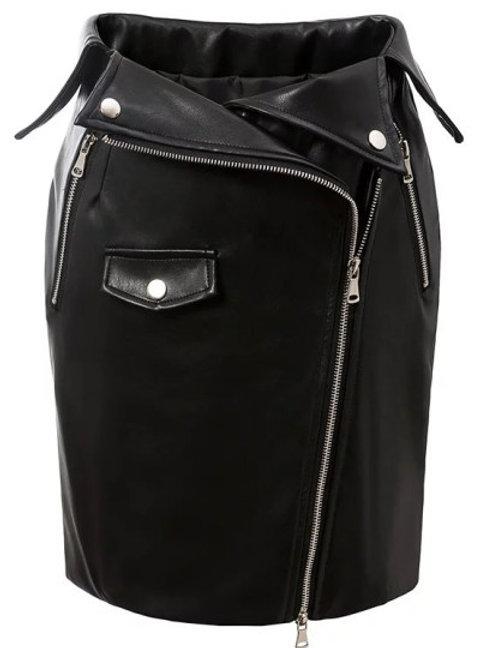 Black Oblique Zipper Bodycon PU Leather Skirt