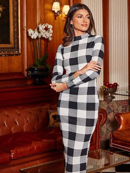 Checker Midi Dress