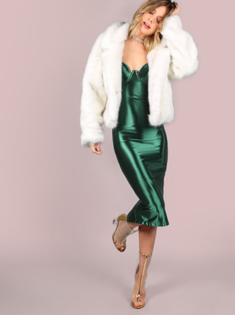 Green Slit Bustier Cami Sheath Dress