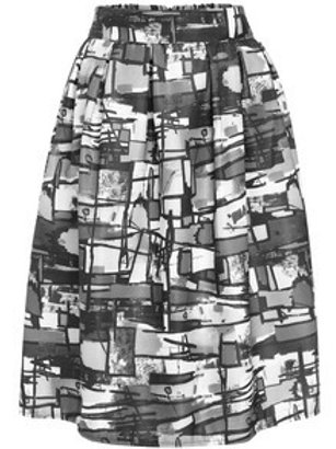 Multi Graffiti Print Midi Skirt