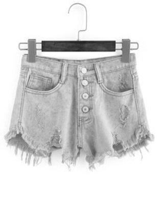 Frayed Pink Buttoned Denim Shorts