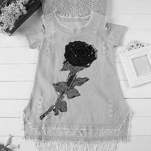Sweet Short Sleeve Sequin Denim Rose Dress