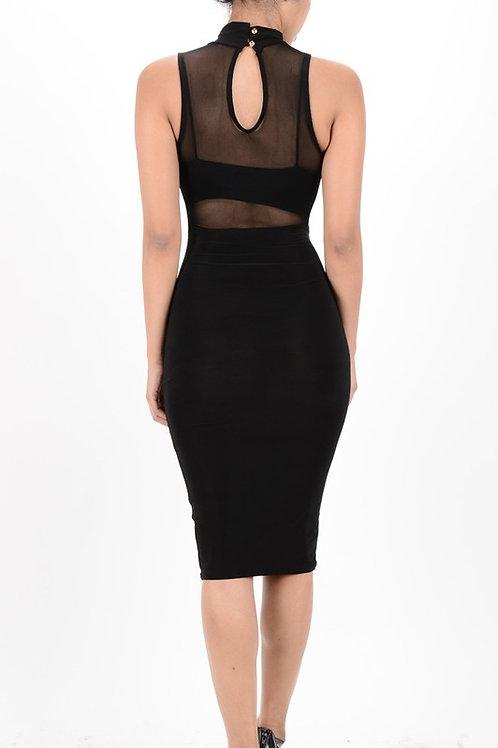 Mesh solid Midi dress