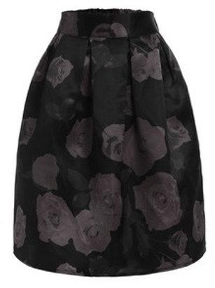 Rose Print Box Pleated Midi Skirt