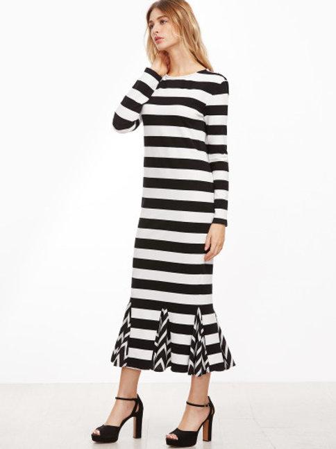 Black/White Striped Godet Dress