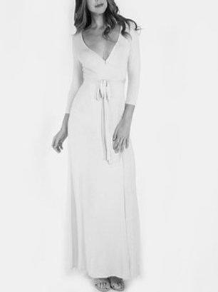 Apricot Cross V-Neck Side Split Maxi Dress