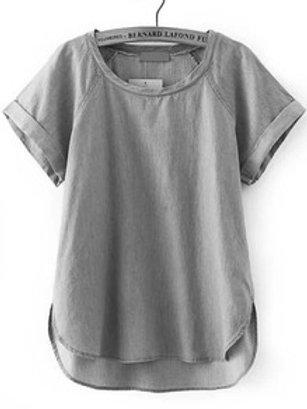 Denim short Sleeve Boyfriend Trend Blouse